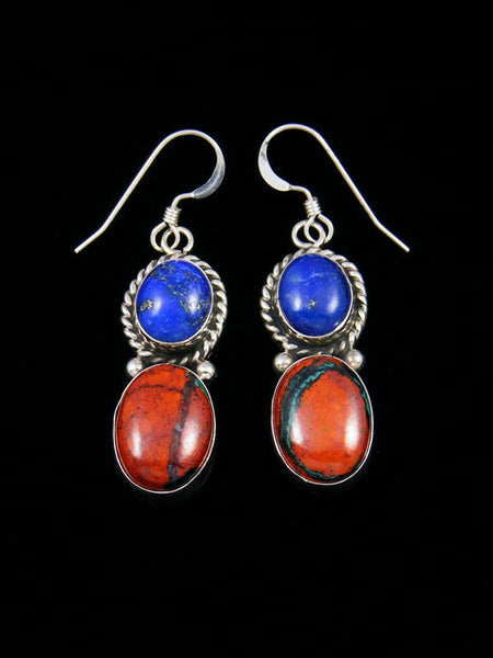 Navajo Sterling Silver Dangle Lapis Earrings