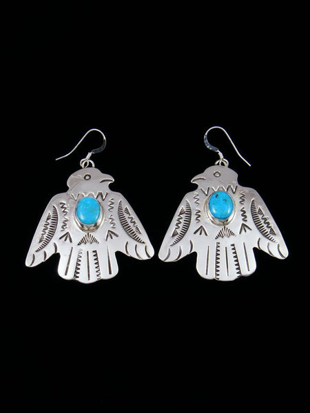 Navajo Sterling Silver Turquoise Thunderbird Dangle Earrings