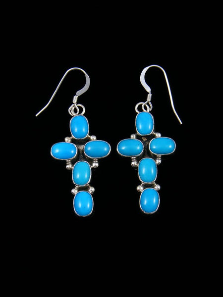 Navajo Sterling Silver Turquoise Cross Dangle Earrings