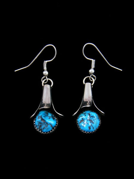 Navajo Turquoise Sterling Silver Earrings with Flute