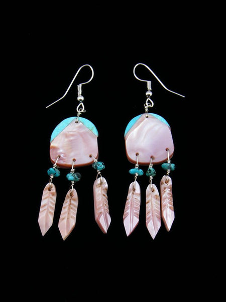 Pink Shell and Turquoise Inlay Dreamcatcher Earrings