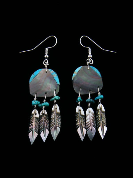 Sterling Silver Abalone and Turquoise Dreamcatcher Earrings