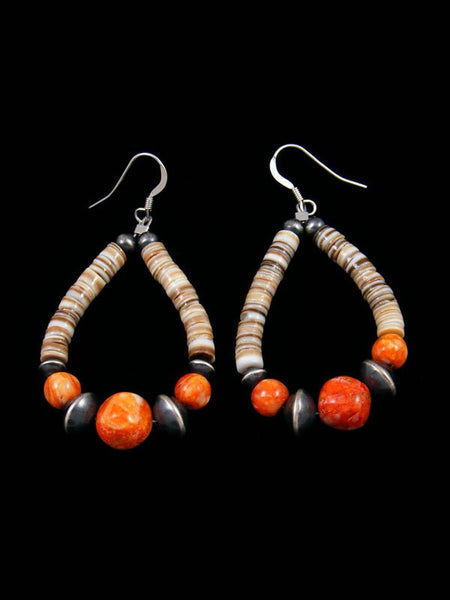 Native American Sterling Silver Apple Coral Bead Dangle Earrings