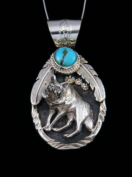 Navajo Indian Sterling Silver 3D Turquoise Wolf Pendant