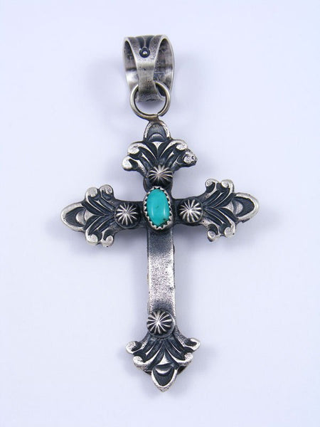 Native American Indian Sterling Silver Cross Pendant