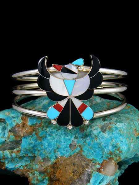 Native American Jewelry Zuni Turquoise Inlay Thunderbird Cuff Bracelet