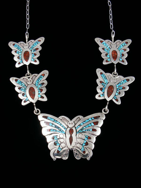 Navajo Turquoise Chip Inlay Butterfly Necklace