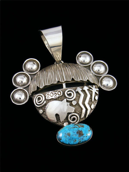Navajo Sterling Silver and Kingman Turquoise Petroglyph Maiden Pendant