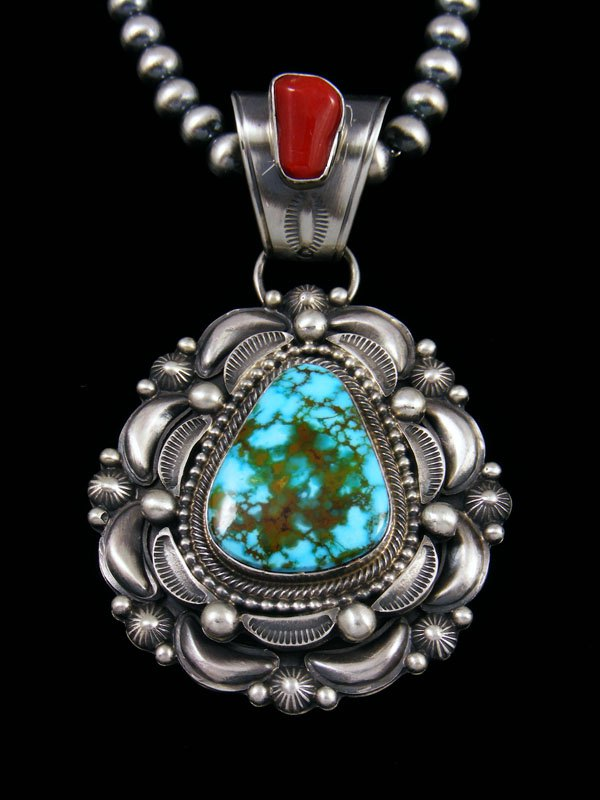 Native American Sterling Silver Kingman Turquoise and Coral Necklace