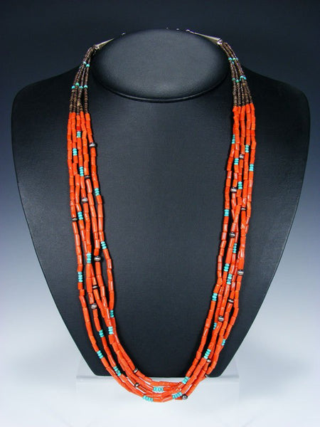 Native American Indian Jewelry Natural Coral Five Strand Necklace