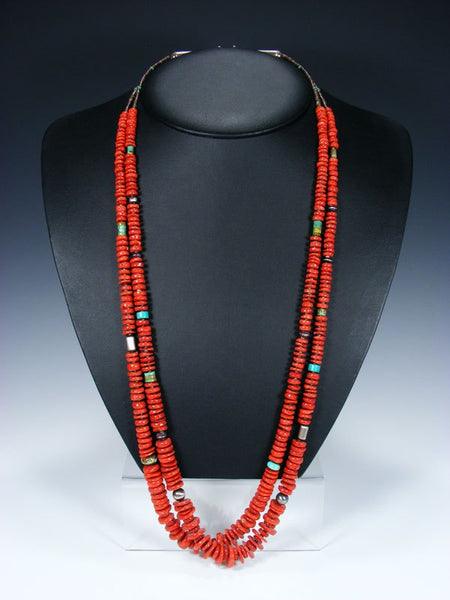 Native American Indian Jewelry Natural Coral Double Strand Necklace