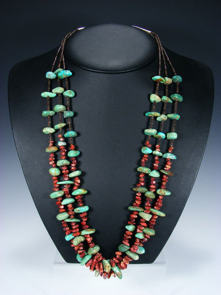 Native American Spiny Oyster and Turquoise Triple Strand Necklace