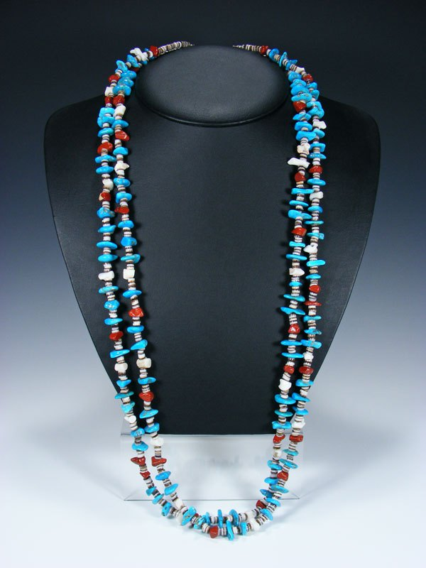 Native American Shell and Turquoise Double Strand Necklace