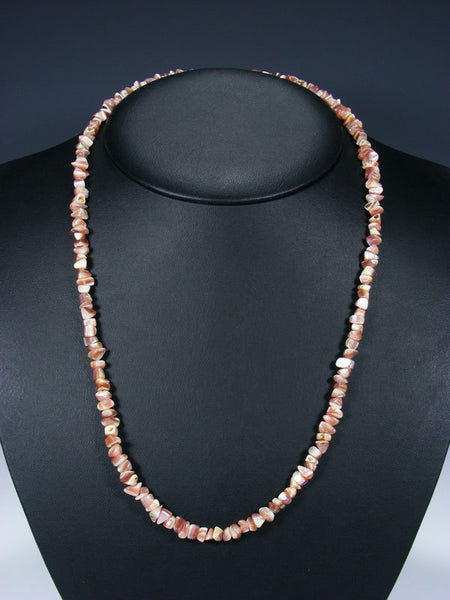 Native American Santo Domingo Single Strand Pink Shell Necklace