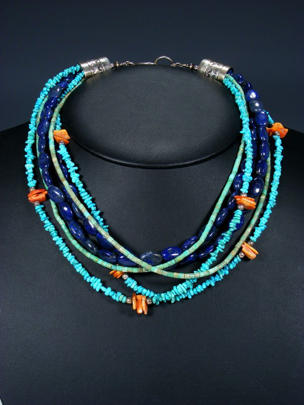 Native American Jewelry Six Strand Turquoise and Lapis Necklace