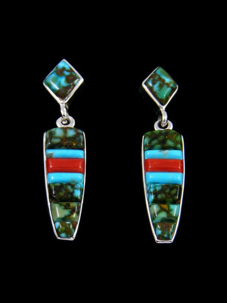 Navajo Kingman Redweb Cobblestone Inlay Earrings