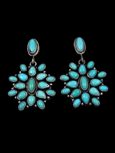 Heavy Blue Turquoise Sterling Silver Dangle Earrings