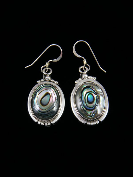 Navajo Abalone Sterling Silver Dangle Earrings