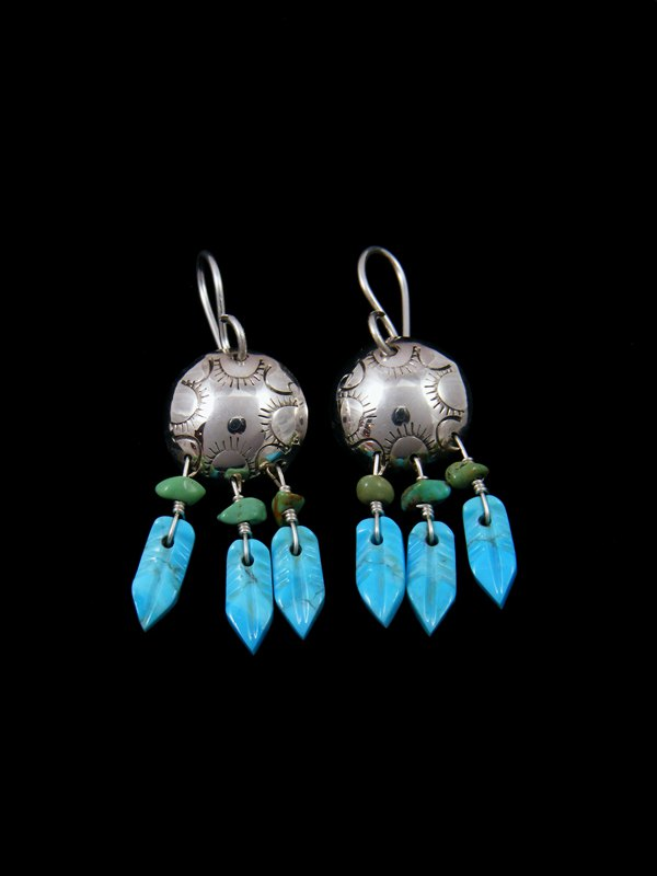 Navajo Sterling Silver Turquoise Dreamcatcher Earrings