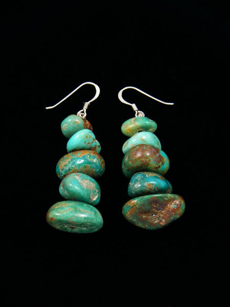 Navajo Kingman Turquoise Beaded Nugget Dangle Earrings