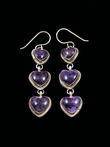 Navajo Sterling Silver Sugilite Heart Dangle Earrings