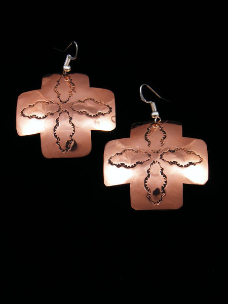 Navajo Copper Cross Dangle Earrings