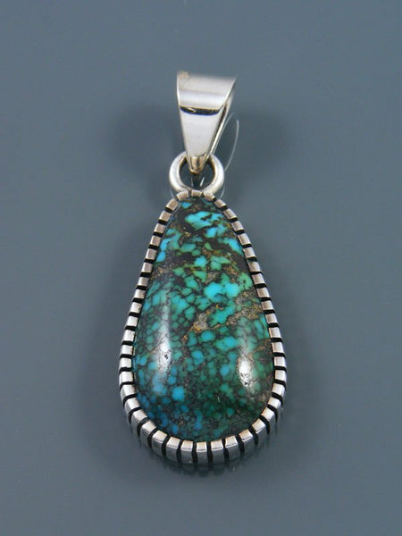 Native American Natural Cloud Mountain Turquoise Sterling Silver Ingot Pendant