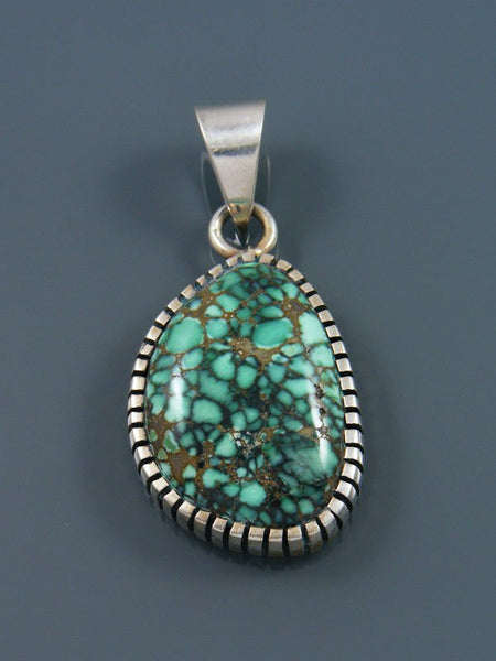 Native American Natural Peacock Variscite Sterling Silver Ingot Pendant