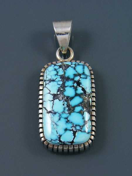 Native American Natural Blue Moon Turquoise Sterling Silver Ingot Pendant