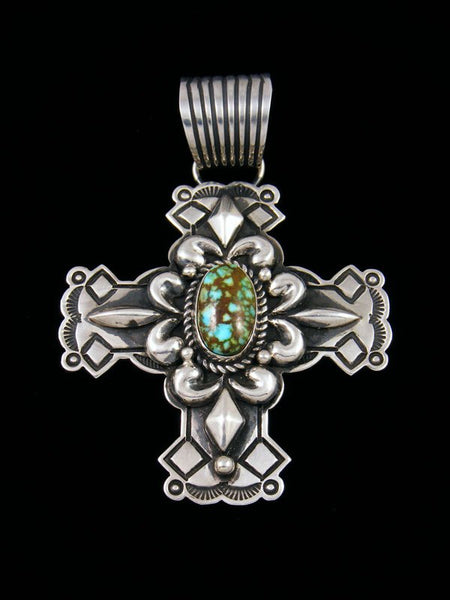 Native American Kingman Redweb Turquoise Cross Pendant