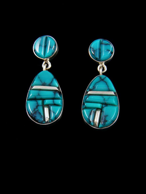 Navajo Natural Cloud Mountain Turquoise Inlay Post Earrings