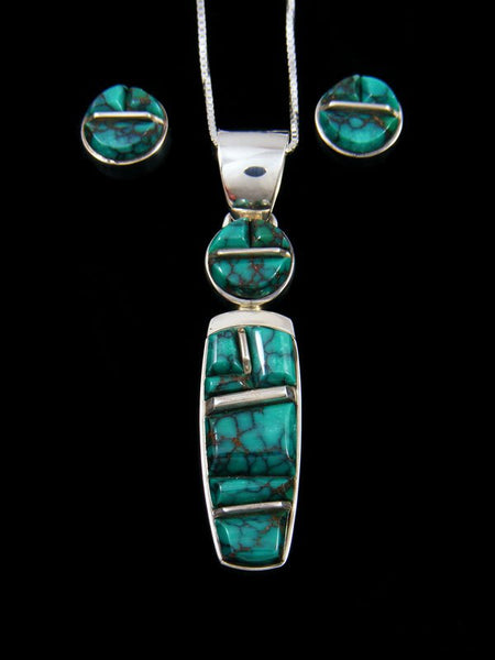Natural Cloud Mountain Turquoise Navajo Inlay Necklace and Earring Set