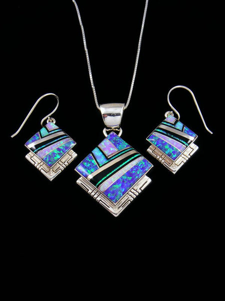 Opalite and Onyx Navajo Inlay Necklace Set