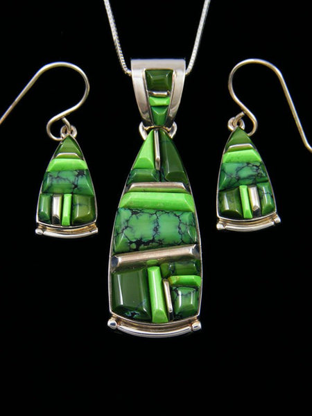 Navajo Sterling Silver Turquoise and Gaspeite Inlay Necklace Earrings Set