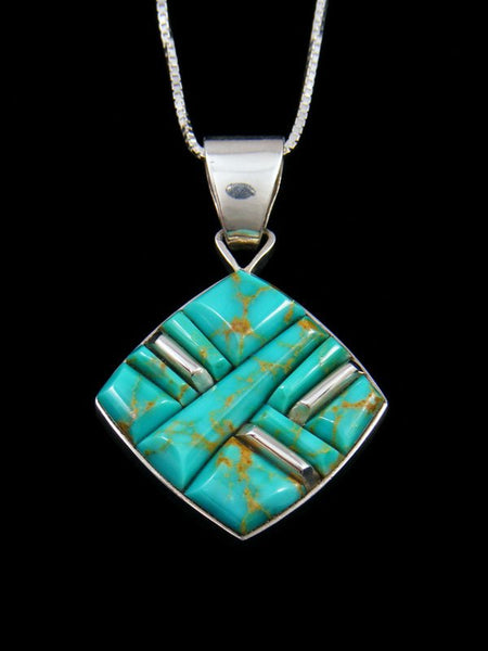 Native American Natural Turquoise Inlay Pendant
