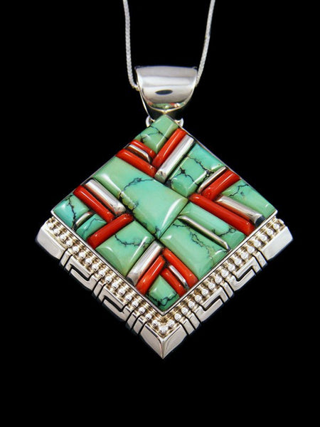 Native American Sterling Silver Turquoise and Coral Cobblestone Inlay Pendant