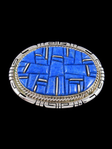 Native American Cobblestone Inlay Lapis Sterling Silver Buckle