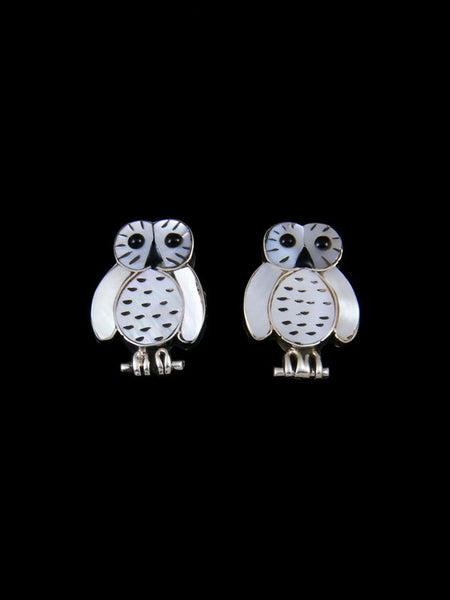 Mother of Pearl Zuni Inlay Owl Post Earrings