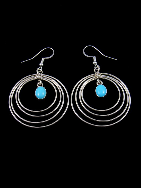 Navajo Sterling Silver Turquoise Wire Dangle Earrings