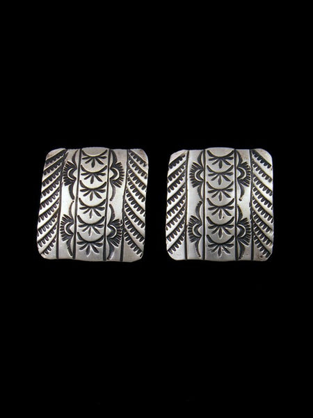 Native American Jewelry Stamped Sterling Earrings