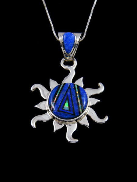 Native American Lapis and Opal Inlay Sun Pendant