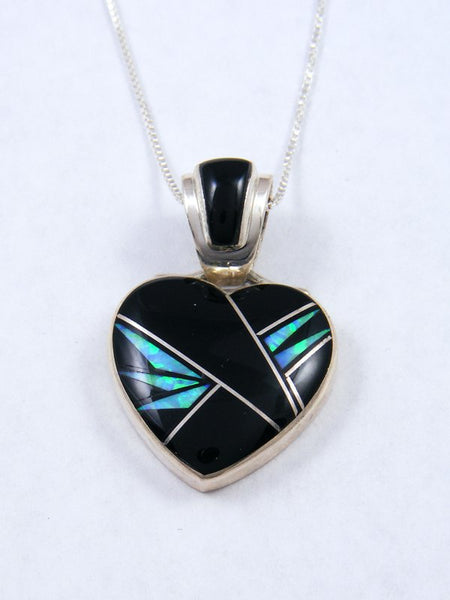 Navajo Inlay Onyx and Opal Heart Pendant