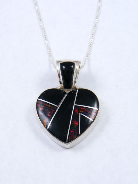 Navajo Inlay Onyx and Red Opal Heart Pendant
