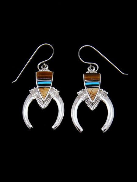 Jasper and Tiger Eye Navajo Inlay Dangle Earrings