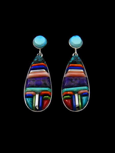 Native American Multi-Stone Cobblestone Inlay Post Earrings