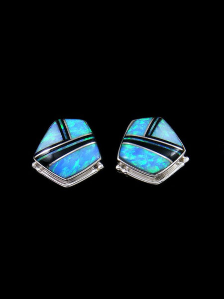 Native American Sterling Silver Opal Inlay Post Earrings