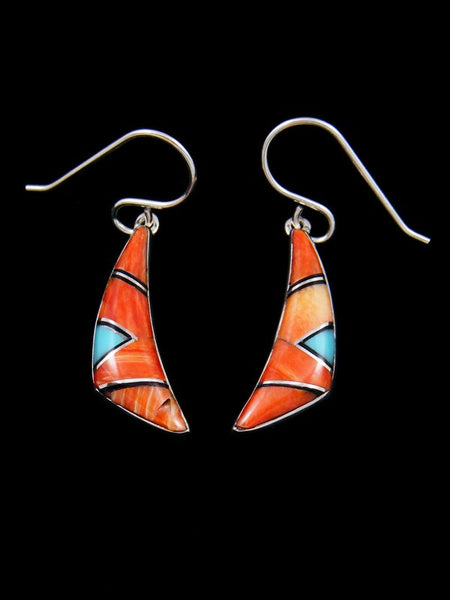 Native American Sterling Silver Spiny Oyster Inlay Dangle Earrings