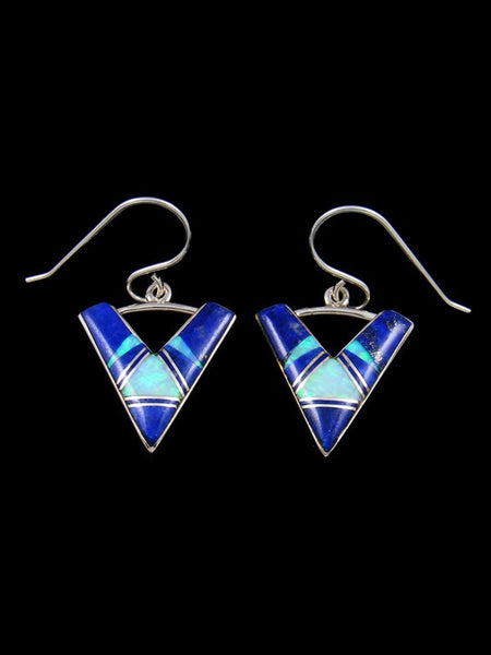 Lapis and Opalite Navajo Inlay Dangle Earrings