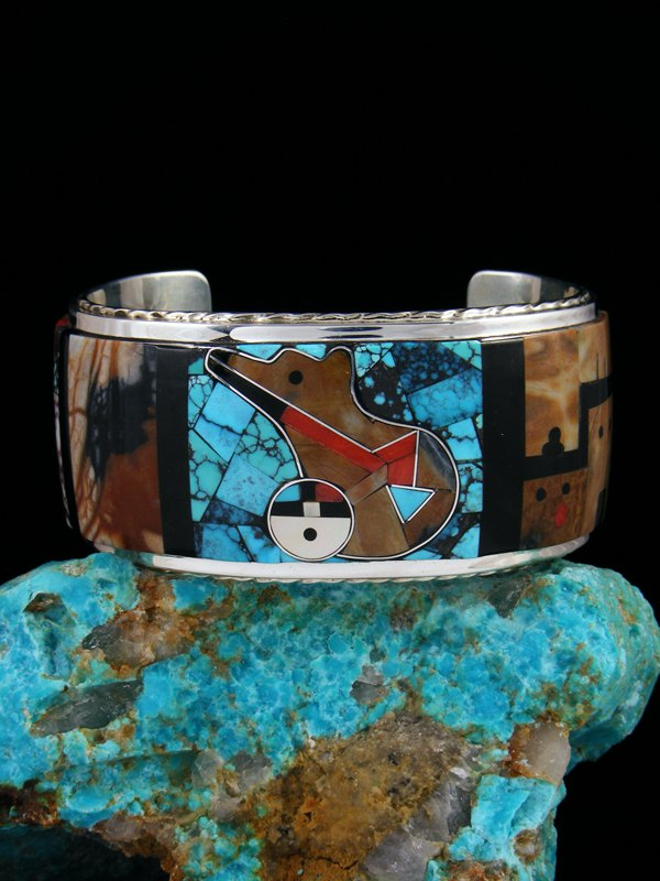 Zuni Bear and Pueblo Inlay Sterling Silver Cuff Bracelet