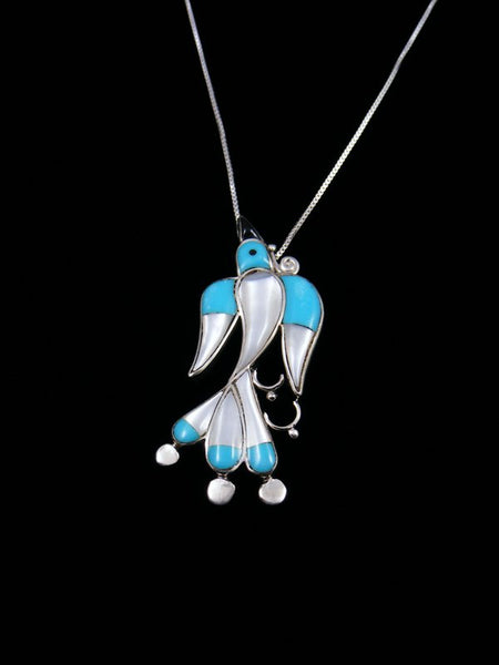 Native American Zuni Inlay Waterbird Pin/Pendant